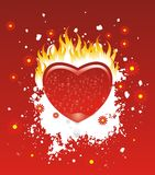 Burn of desire. Heart totally flamed by the fire of passion and desire vector illustration
