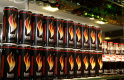 Burn energizer cans at the bar Royalty Free Stock Photography