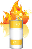 Burn energy drink. On the background of abstract flame. Illustration Royalty Free Stock Photos