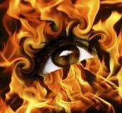 Burn eye. Abstract burn eye with fire Stock Image