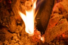 Burn fire flame at dark background Royalty Free Stock Photography