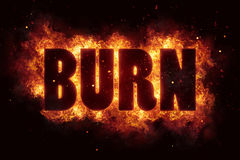 Burn fire flame text explosion explode. Glow Royalty Free Stock Photography