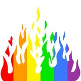 Burn flame fire rainbow colors, vector Royalty Free Stock Photo