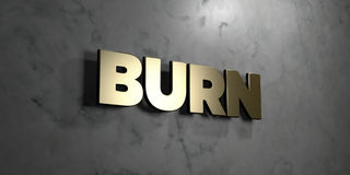 Burn - Gold sign mounted on glossy marble wall  - 3D rendered royalty free stock illustration Stock Photography