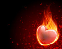 Burn heart flame fire. Valentine's day background Stock Photography