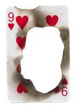 Burn hole in old dirty playing card of hearts Royalty Free Stock Image