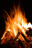 Burn hot fire flame dark background Royalty Free Stock Photos