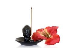 Burn incense still live. Burning incense for relaxation on white background, studio shot Royalty Free Stock Image