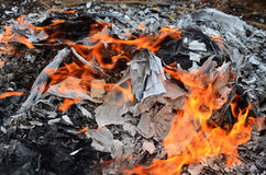 Burn joss paper or hell money Chinese Culture in The Qingming Festival Stock Photo