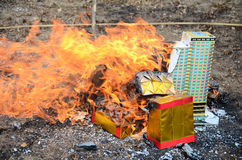 Burn joss paper or hell money in The Qingming Festival Royalty Free Stock Image