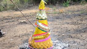 Burn joss paper or hell money in The Qingming Festival stock footage
