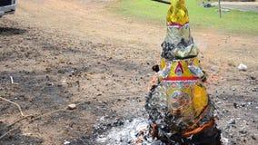 Burn joss paper or hell money in The Qingming Festival stock video