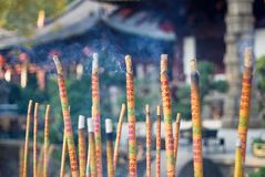 Burn joss-sticks. At buddhism temple Royalty Free Stock Image