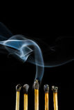 Burn match with smoke Stock Photography