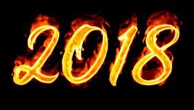 2018 Burn Number On Black Stock Photo