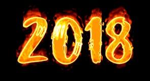 2018 Burn Number On Black Stock Images