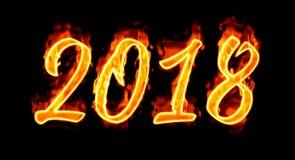 2018 Burn Number On Black Royalty Free Stock Photo