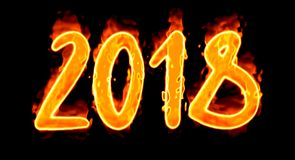2018 Burn Number On Black Stock Photography