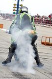 Burn out. Tyre warm-up royalty free stock image