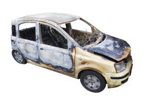 Burn out car on white front Stock Image