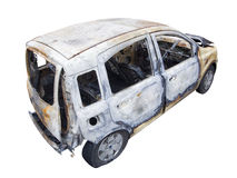 Burn out car on white hight Royalty Free Stock Photo