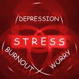 Burn-out d'affichages d'inquiétude et d'inquiétude de dépression d'effort Images libres de droits