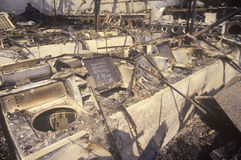 Burn-out de laverie automatique pendant 1992 émeutes, Los Angeles centrale du sud, la Californie Images stock