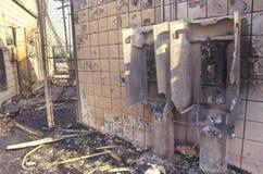 Burn-out de station service pendant 1992 émeutes, Los Angeles centrale du sud, la Californie Photo stock