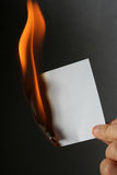 Burn paper. Flame light, burn Stock Photography