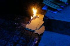Burn paper. Burning paper for memorize ancestor in China Stock Photo