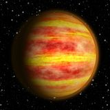 Burn planet. Hot planet with yellow clouds and fire Stock Image