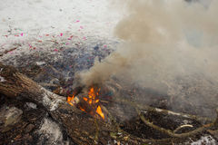 Burn refuse in nature, cleaning and waste incineration after the Stock Image