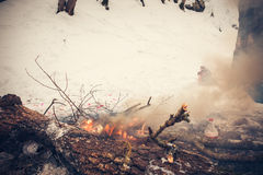 Burn refuse in nature, cleaning and waste incineration after the Stock Photography