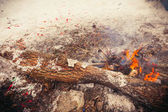Burn refuse in nature, cleaning and waste incineration after the Royalty Free Stock Photo