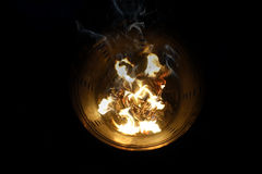 Burn silver and gold paper for ancestors - passed away. Royalty Free Stock Photos