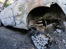 Burn Sport Car Wreck - Back View Stock Image