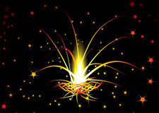 Burn wallpaper. Red hot background with an illustrated fireworks explosion Royalty Free Stock Photo