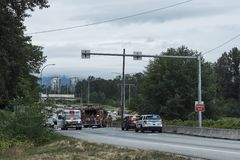 Burnaby, Canada - July 18, 2018: Road accident stock image