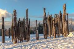Burnaby-Gebirgstotempfahl Vancouver im Januar 2017 Lizenzfreies Stockbild