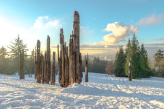 Burnaby-Gebirgstotempfahl Vancouver im Januar 2017 Stockfotografie