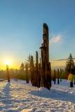 Burnaby-Gebirgstotempfahl Vancouver im Januar 2017 Lizenzfreie Stockbilder