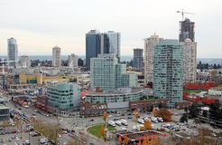 Burnaby highrises i Metrotown centrum handlowe Zdjęcie Royalty Free