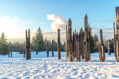 Burnaby montaña tótem Vancouver enero de 2017 Imagen de archivo libre de regalías