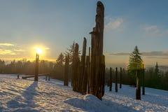 Burnaby montaña tótem Vancouver enero de 2017 Fotos de archivo