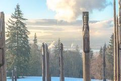 Burnaby montaña tótem Vancouver enero de 2017 Foto de archivo libre de regalías