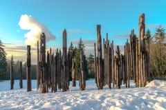 Burnaby montagna totem palo Vancouver gennaio 2017 Fotografia Stock Libera da Diritti