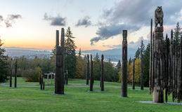 Burnaby Mountain Totem pole Vancouver Oct 2016. Royalty Free Stock Image