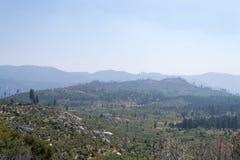 Burned area around Yosemite valley stock photo