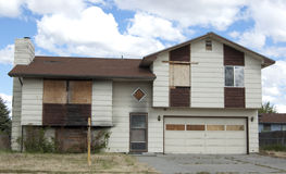 Burned and boarded house Royalty Free Stock Photo
