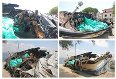 Burned boat Stock Images